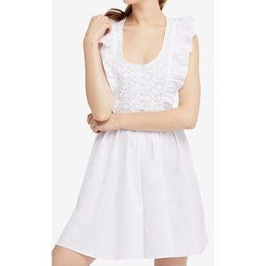 Free People White Ruffle Lace A-Line Dress
